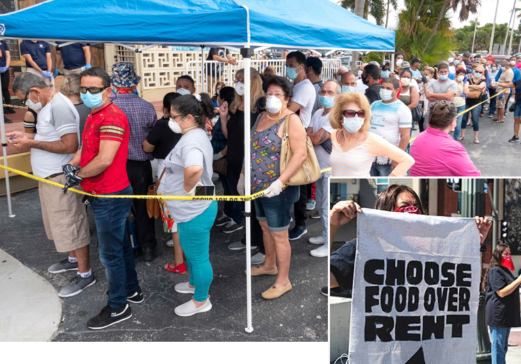 Above, line to file for unemployment in Hialeah, Florida, April 7. Inset, rent protest in Los Angeles April 1.