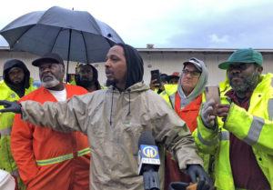 "Sanitation workers in Pittsburgh protest for safety equipment, higher pay. ""Nobody respected the garbage men till we didn't pick up the garbage,"" worker Derrick McClinton told the media."