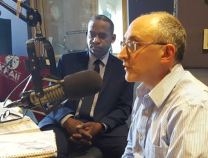 SWP vice presidential candidate Malcolm Jarrett, left, and David Rosenfeld, U.S. Senate candidate in Minnesota, during KFAI radio interview with them and Alyson Kennedy. It airs April 10.