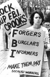 Picket protests FBI spying against labor, political activity in September 1976. SWP exposed, beat back capitalist rulers' political police with successful political, legal campaign.