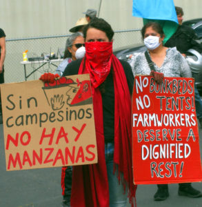 """Farmworkers organized caravan to Olympia, Washington, May 1, demanding recognition of rights. Placard on left says, """"Without farmworkers, there are no apples."""""""