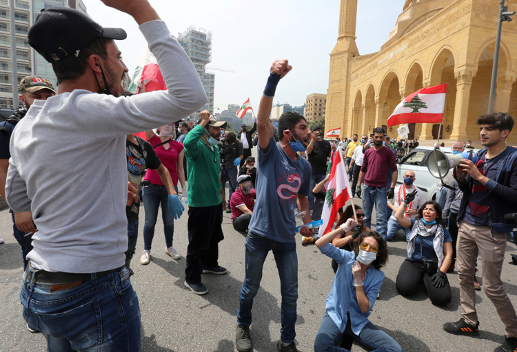 """We die from hunger or the disease,"" Beirut protesters said April 21. ""Let us die taking a stand."""