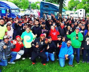 Truckers celebrate three-week protest in Washington, D.C., after presenting demands to U.S. officials.