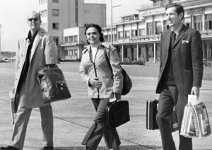 Alan Harris, right, Connie Harris and Jack Barnes arrive in Belgium from U.K. in early 1970s for leadership meeting of Fourth International. Harris served on its executive body for 15 years.