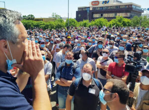 "Nissan workers protest in Barcelona May 28, chanting ""If this is not fixed — war, war, war!"" demanding auto bosses reverse decision to shut down factories there in move to boost profits."
