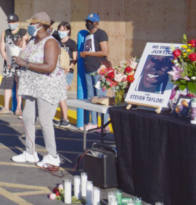 Sharon Taylor, mother of Steven Taylor, speaks at June 18 vigil in San Leandro.