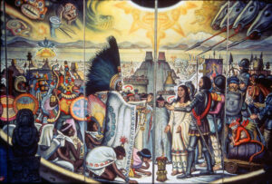 Folding-screen mural painted in 1976 by Mexican painter Roberto Cueva del Río depicts meeting between Aztec ruler Moctezuma II and Spanish conquistador Hernán Cortés some 500 years ago.