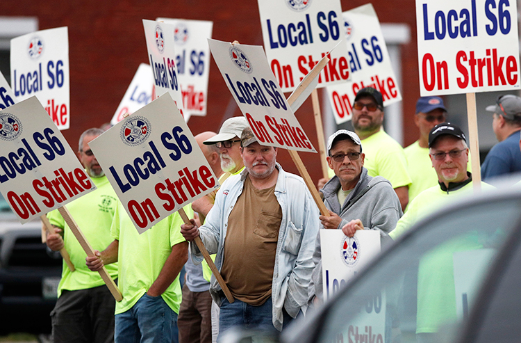 First day of shipyard strike June 22. Solidarity rally is set for July 25 at union hall in Bath, Maine.