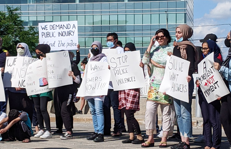 June 27 protest in Mississauga, Ontario, Canada, against the cop killing of Ejaz Choudry.