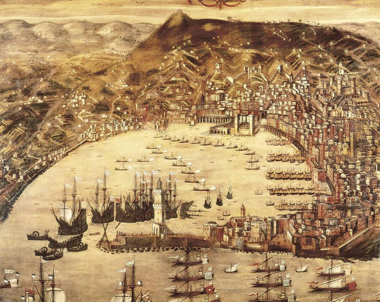 Reproduction of a painting of Genoa, Italy, in 1597, by Cristoforo Grassi. Genoa was a key European port at the time of Columbus' voyages. Opening of Americas paved the way for the rapid development of capitalism in Holland and England, while holding it back in Spain.