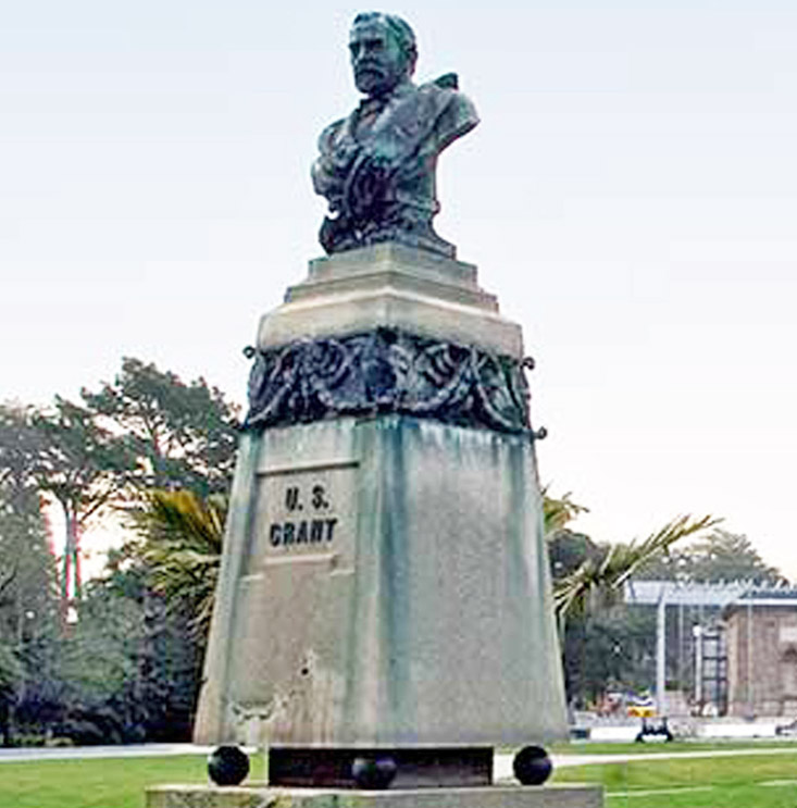 Statue of Ulysses S. Grant before its destruction last month in Golden Gate Park in San Francisco. Grant was commander of Union Army that defeated slavocracy in U.S. Civil War.