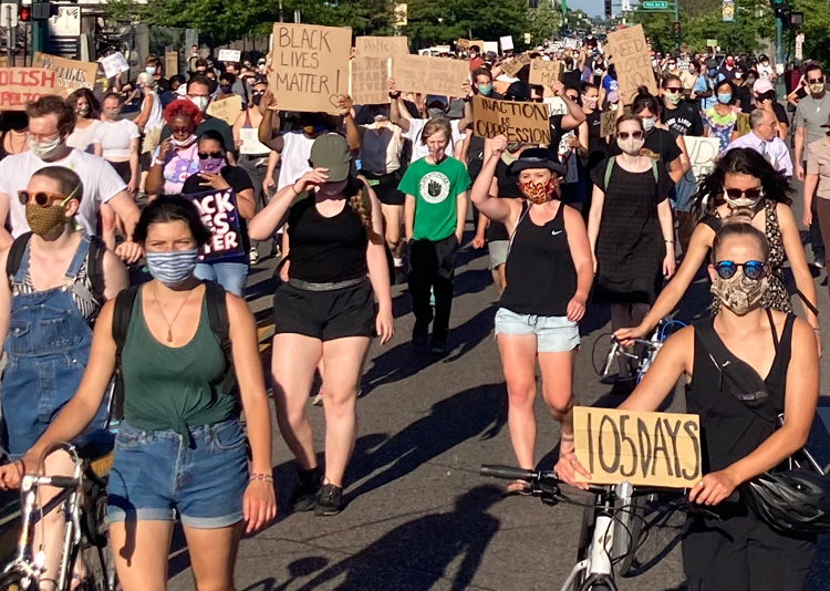 Above, June 26 protest in Minneapolis against police brutality. Inset, protesters kneel for 14 minutes — symbolizing time cops held Carlos Ingram Lopez face down April 21 causing his death — during June 24 march in Tucson to demand prosecution of cops who killed him.