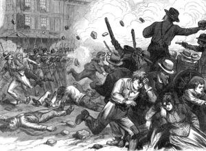 "Workers in Baltimore battle state troopers as 1877 rail workers battle became first nationwide strike in U.S. history. Karl Marx called it ""first eruption since the Civil War against the associated oligarchy of capital."" Out of 1884-86 struggles, unions took steps to form a labor party."