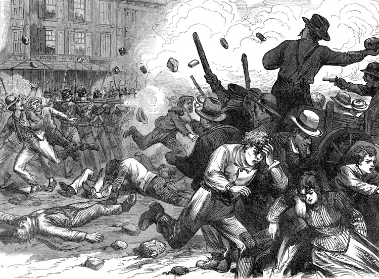 """Workers in Baltimore battle state troopers as 1877 rail workers battle became first nationwide strike in U.S. history. Karl Marx called it """"first eruption since the Civil War against the associated oligarchy of capital."""" Out of 1884-86 struggles, unions took steps to form a labor party."""