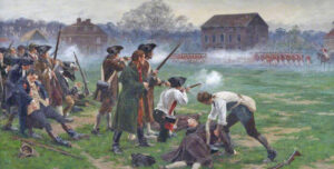 """Painting of 1775 Battle of Lexington by William Barns Wollen shows """"the shot heard around the world"""" that began the American War of Independence. Lenin said this revolutionary war set an example worldwide."""