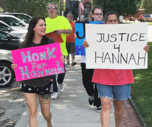Jessica Fizer, left, leads protest July 25 demanding the cop who killed her cousin, Hannah Fizer, be prosecuted. Inset, Amy Fizer, Hannah's mother, confronts Pettis County Sheriff Kevin Bond June 18, insists on release of name of cop who killed Hannah.