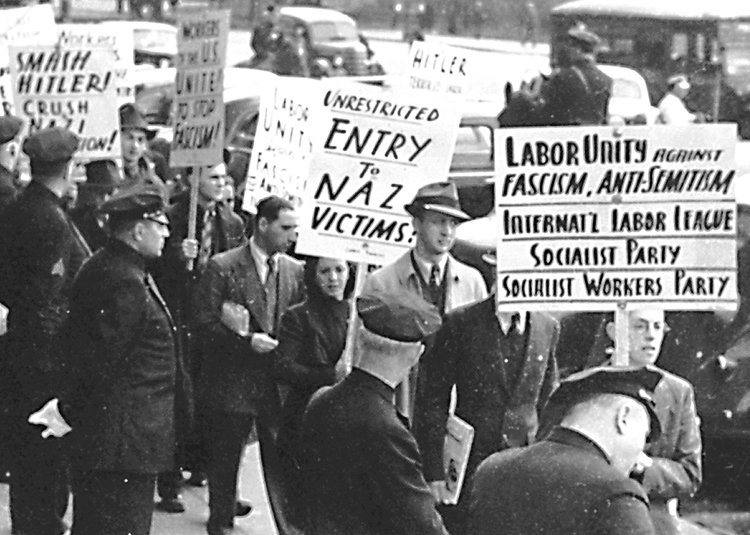 Members of Socialist Workers Party joined other groups picketing German Consulate in New York in November 1938. They demanded Washington open its doors to Jewish and other refugees, victims of Nazi brutalities as that regime began to prepare the Holocaust.