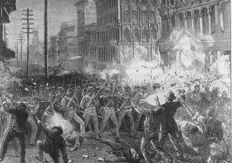 "Troops attack strikers in Baltimore in 1877 general strike. Karl Marx called it ""the first uprising against the oligarchy of capital since the Civil War."" From here, he pointed to the forces of the American socialist revolution — free labor, free farmers exploited by capital and freed slaves."