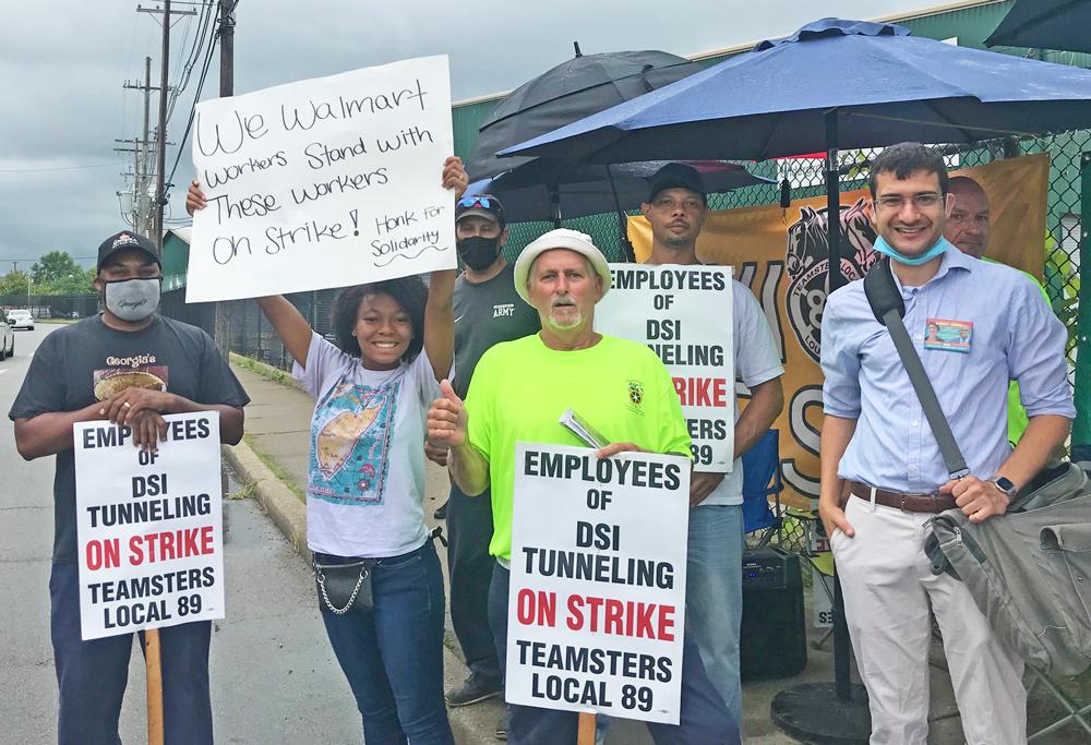 Walmart workers bring solidarity to DSI Tunneling strikers in Louisville, Kentucky, August 28
