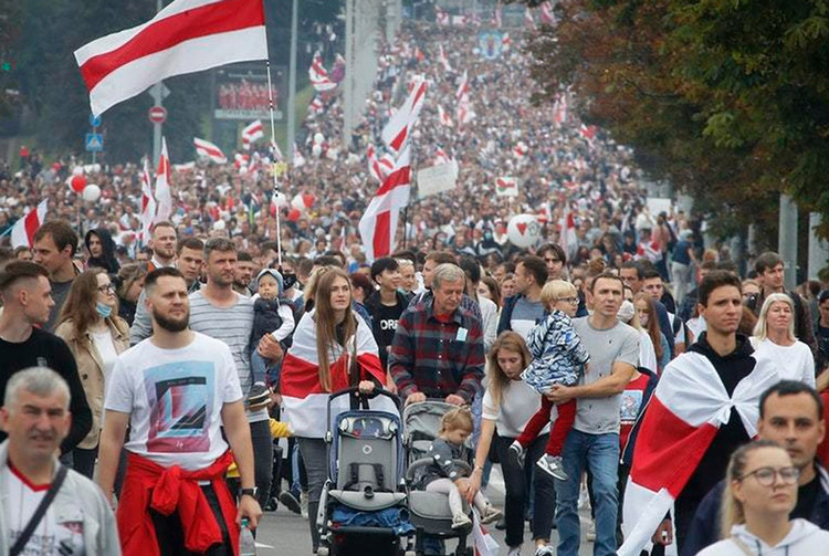 Weekly mass protests continue in Minsk Sept. 20, above, and all across Belarus. Alexander Lukashenko was sworn in as president in secret three days later, after stealing Aug. 9 elections.