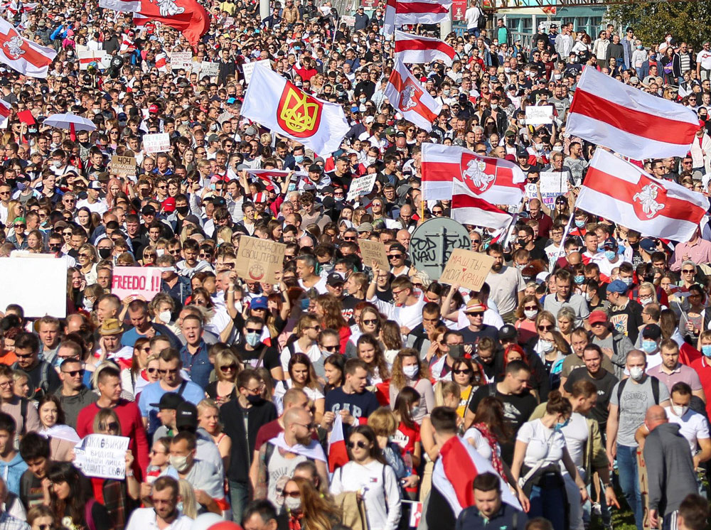 """Over 100,000 people rally in Minsk, Belarus capital, Sept. 13 demanding President Lukashenko, who falsely claims he won Aug. 9 elections, resign to make way for """"free and fair elections."""""""