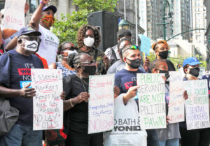 New York City unions Sept. 3 protest mayor's threat to lay off thousands of city workers.