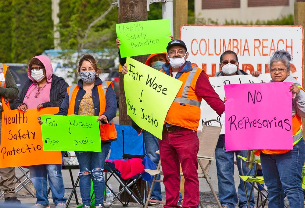 Protesta de huelguistas de empacadoras de frutas en Yakima, Washington, mayo 14. Candidatos del PST explican que huelga es un ejemplo de cómo forjar un movimiento sindical combativo.