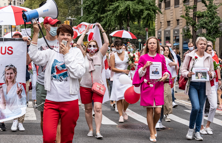 "March ""in solidarity with women in Belarus,"" Oct. 10 in New York City. International actions against dictatorial regime in Belarus backed mass protests there demanding freeing of political prisoners, new elections."