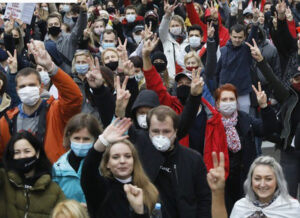 Some 200,000 protesters in Minsk, Belarus, Oct. 25, mark 11 weeks of marches, strikes demanding dictator Alexander Lukashenko resign, new elections be held and all those detained by authorities be released.