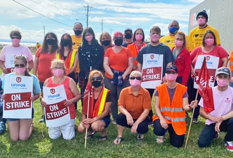 "Dominion strikers, members of Unifor Local 597 in Stephenville, Newfoundland, join ""Orange Shirt Day"" protest to mark crimes committed against Native peoples in residential schools."