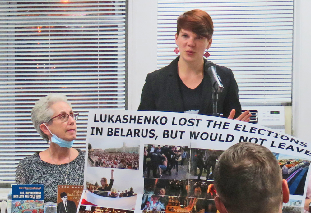 Hanna Sharko, spokesperson for Belarus Together, explained mass opposition to Lukashenko regime at New Jersey Militant Labor Forum Sept. 26. Joanne Kuniansky, left, spoke for SWP.