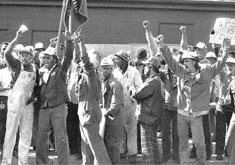 Steelworkers Local 8888 victory demonstration at Newport News, Virginia, shipyard in 1979. Drive led by Black workers to organize 18,000 there showed possibilities for organizing South.