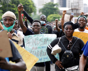 Tens of thousands of workers and youth have demonstrated in October across Nigeria to demand government's repressive SARS police unit be dissolved. Above, Oct. 11 rally in Lagos.