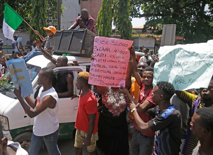 Oct. 20 protest in Lagos, Nigeria. Later that day army attacked protesters, killing at least 10.