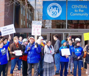 Members of AFT Local 1789 organized a walkout in 2016 during contract negotiations at Seattle Central Colleges. The local's executive board wrote to support Socialist Workers Party's fight to stop Washington state officials from publicly disclosing names and addresses of SWP electors. The union has been fighting its own battle against attempts by a notorious anti-labor group to use state disclosure laws to gain access to personal information on campus workers.