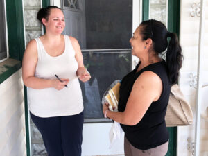 """""""Workers in this country have the sheer numbers, so they keep us down and divided,"""" Iris Lamb, left, told Socialist Workers party member Ellie García. """"A powder keg is building up."""""""