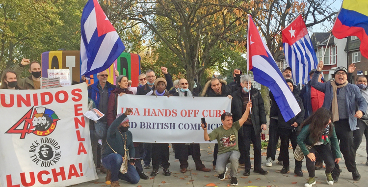 "Dozens join action in London Nov. 7 demanding ""Hands off Cuba."" Similar protest took place in Manchester."