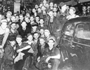 "1937 sit-down strike at GM in Flint, Michigan, won union recognition and pay raise. The 1930s labor upsurge posed fight against twin scourges of unemployment and high prices. ""The right to employment is the only serious right left to the worker in a society based on exploitation."""