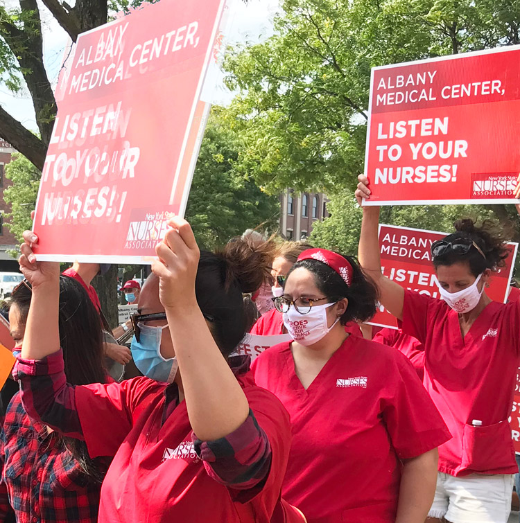 Nurses protest for contract, safety, better care Sept. 18 at NY Albany Medical Center.