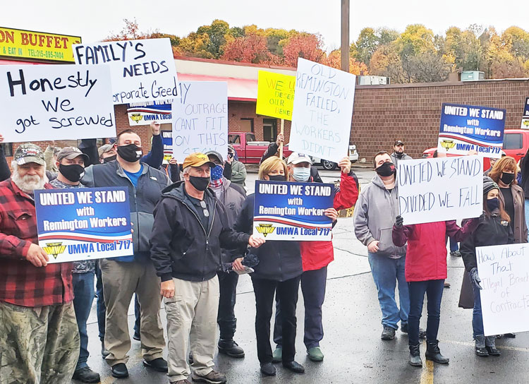 Laid-off members of United Mine Workers of America rally outside Remington plant in Ilion, New York, Oct. 28, as bosses use bankruptcy to deny severance pay, unused vacation benefits.