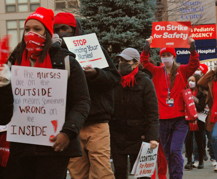 Members of New York State Nurses Association picket Albany Medical Center during Dec. 1 strike demanding more staff to ensure safety and for the health of patients, higher pay.