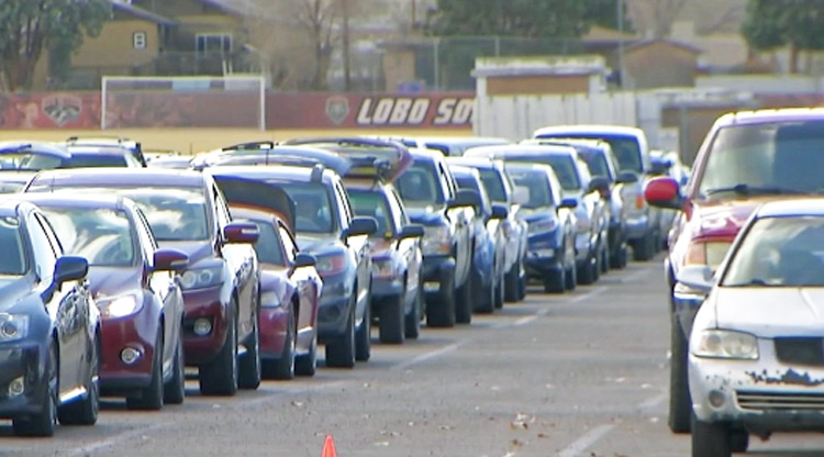 Hundreds of vehicles lined up outside Roadrunner Food Bank in Albuquerque Nov. 24 to get food for Thanksgiving.