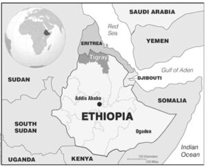 Map shows strategic position of Ethiopia in Horn of Africa near Middle East.