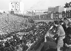 Fidel Castro presents Second Declaration of Havana to million-strong assembly, Feb. 4, 1962. Cuban working people transformed themselves through the fight to take political power, making first socialist revolution in the Americas and defending it from U.S. aggression ever since.