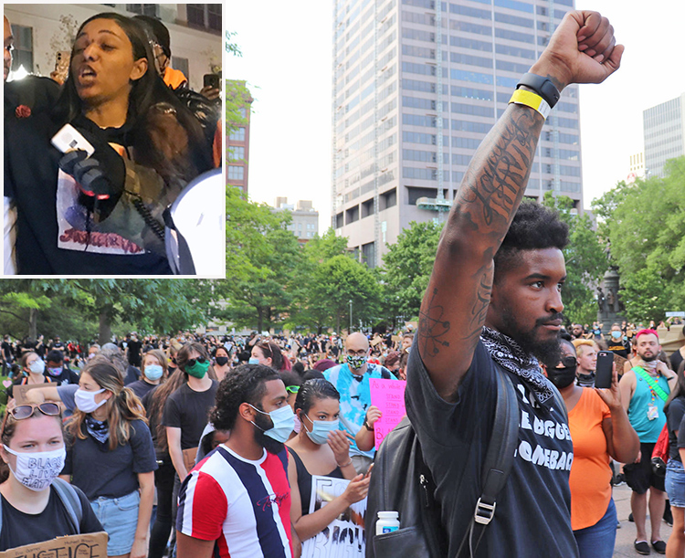 """Protest Dec. 11 demands arrest of cop who shot and killed Casey Goodson Jr., in Columbus, Ohio. Inset, Tamala Payne, Goodson's mother, tells crowd, """"We've all got to stand up!"""""""
