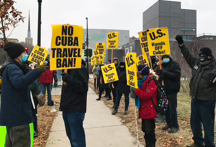 Dec. 17 Minneapolis picket was one of several in U.S. as part of day of protest against U.S. economic war on Cuba. For over 60 years, Washington has tried to overturn Cuban Revolution.