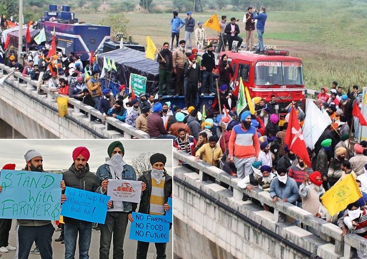 "Protesting farmers in India occupy rail bridge Nov. 27, part of ""March on Delhi"" against laws ending government price supports. Inset, part of solidarity demonstration in Montreal Dec. 6."