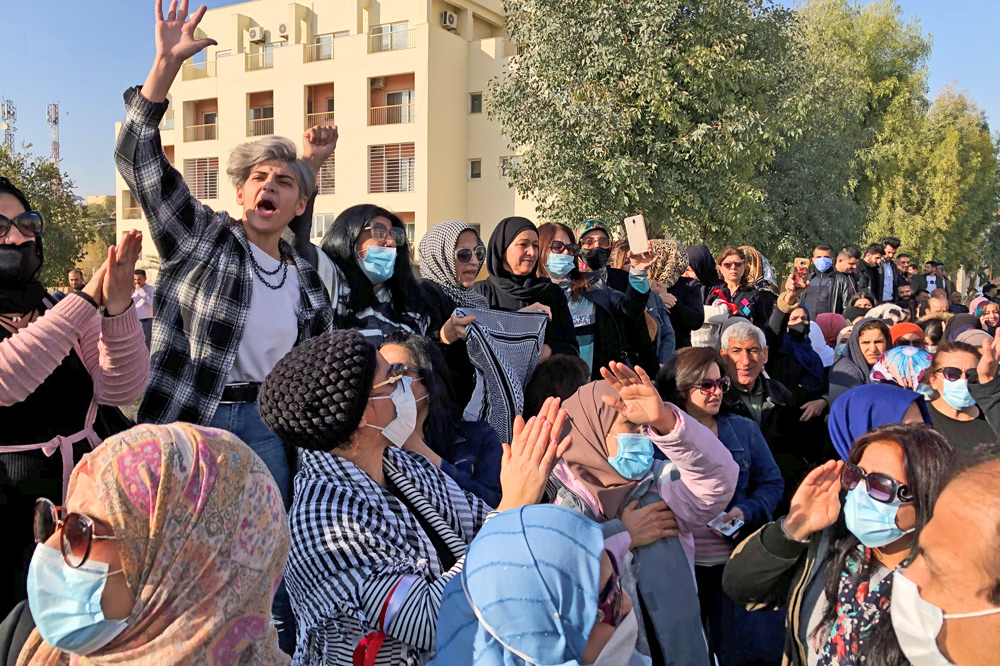 Public sector workers protest in Sulaymaniyah, demanding unpaid wages from Kurdistan Regional Government Dec. 11. Actions expanded across the region, fueled by lack of jobs and services.