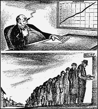 "A cartoon from 1950 Militant   ""The 'Welfare State'"" depicts how the capitalist rulers use their state to boost profits of the bosses while grinding down the conditions of those who produce all wealth, the workers and farmers."