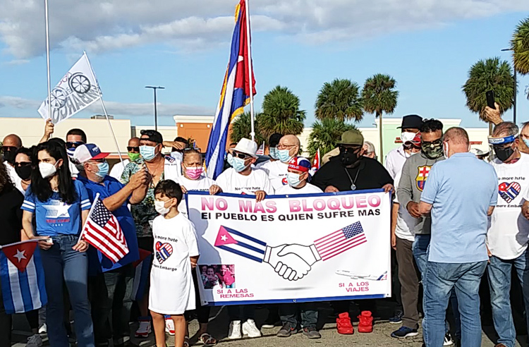 Protesters rally in Miami Nov. 29 against U.S. embargo of Cuba.